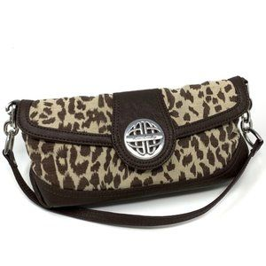 Kate Landry Animal Print Shoulder Bag Silver Chain